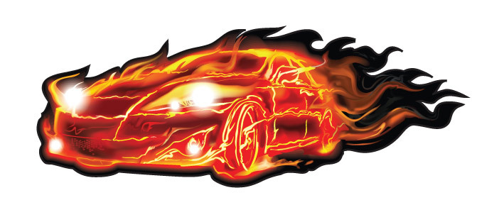 671x282 Car Flames Clipart
