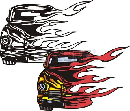 450x384 Drawn Fire Hot Rod