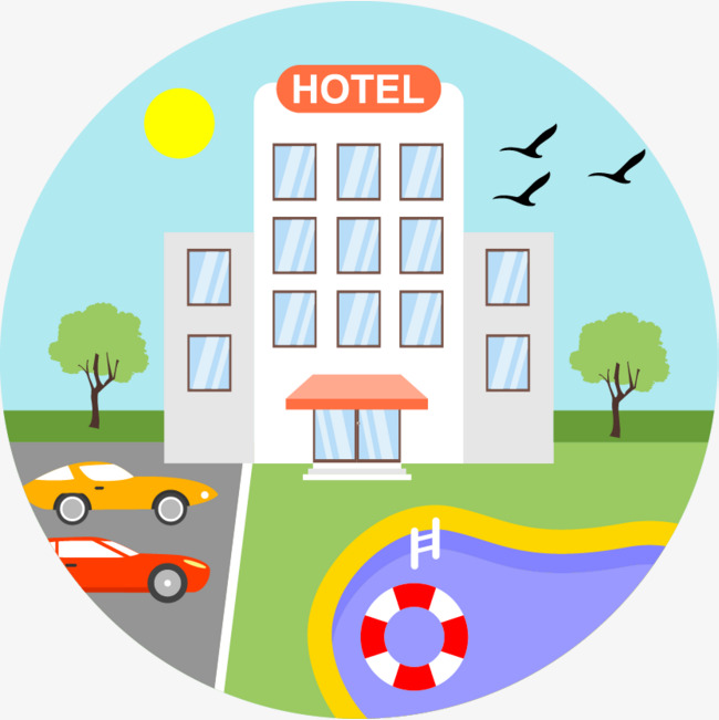 650x651 Hotel Hotel Cartoon Hand Drawing, Hand Painted Cartoon, Vector
