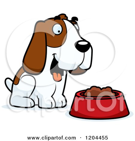 450x470 Cartoon Of A Cute Hound Dog By A Food Bowl