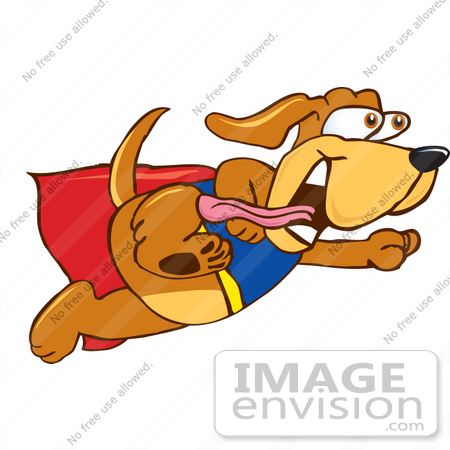 450x450 Clip Art Graphic Of A Cute Brown Super Hero Hound Dog Cartoon