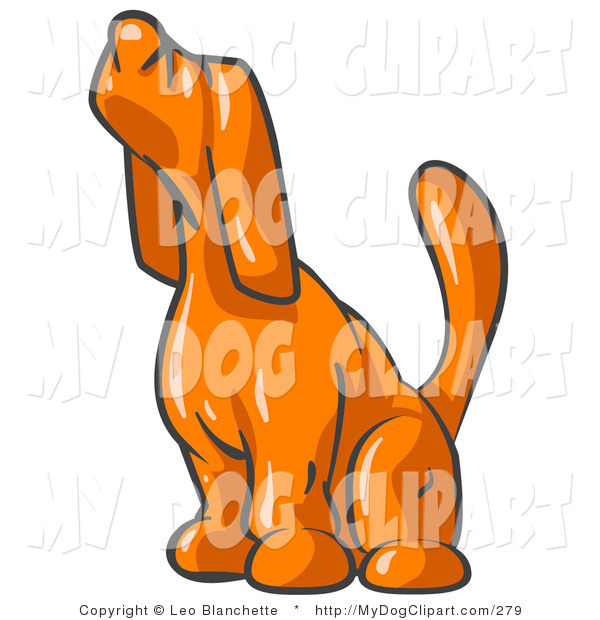 600x620 Clip Art Of A Scared Orange Tick Hound Dog Sniffing The Air