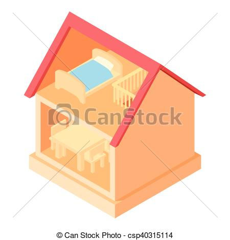 450x470 Toy House Interior Icon, Cartoon Style. Toy House Interior