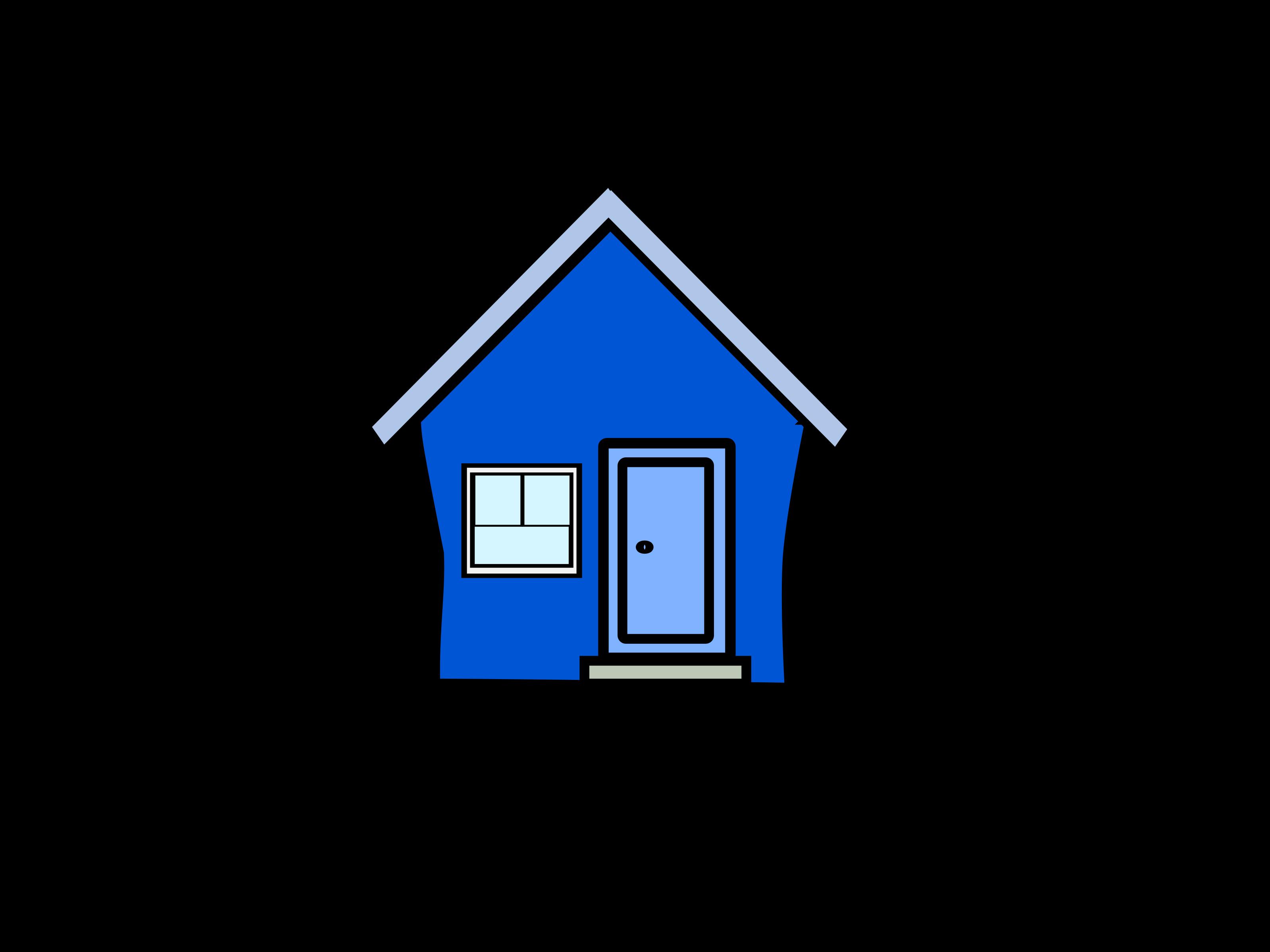 3200x2400 House Blue Clip Art Color