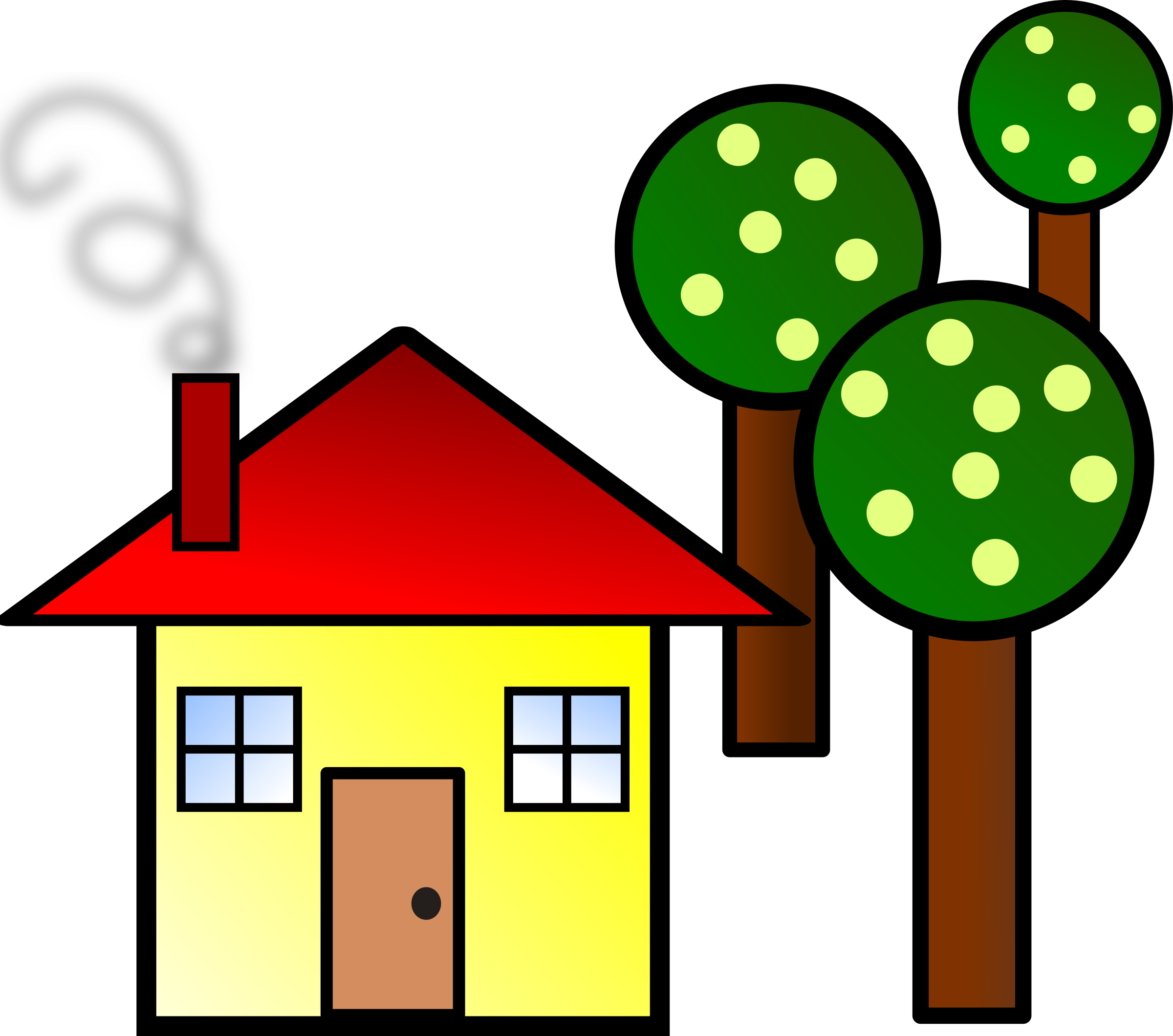 2400x2120 House With Trees By @kattekrab, Simple House, On @openclipart