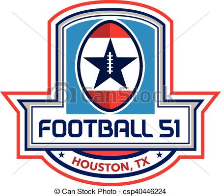 450x400 Houston American Football 51 Big Game Stars Crest Retro . Vector