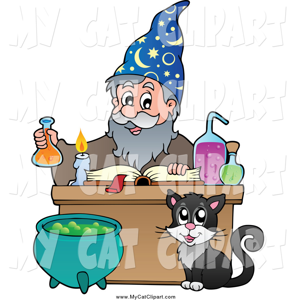 1024x1044 Clip Art Of A Cat Watching A Wizard Make A Spell By Visekart