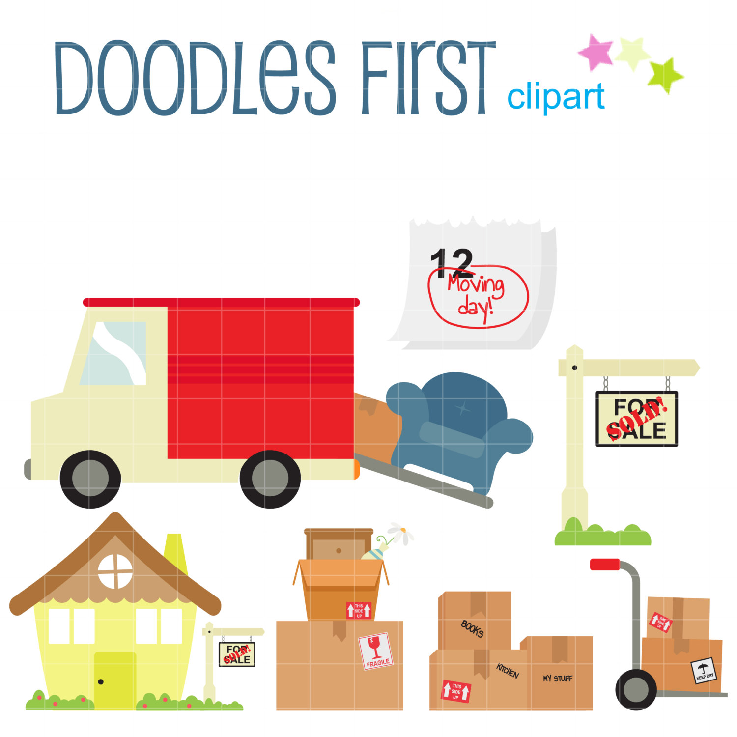 1500x1500 Moving Day Clip Art For Scrapbooking Card Making Cupcake