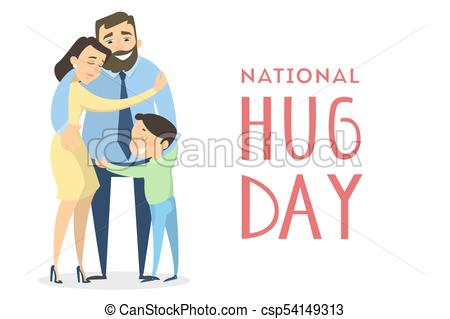 450x319 National Hugging Day. Family Hugging On White. Vector Clip Art