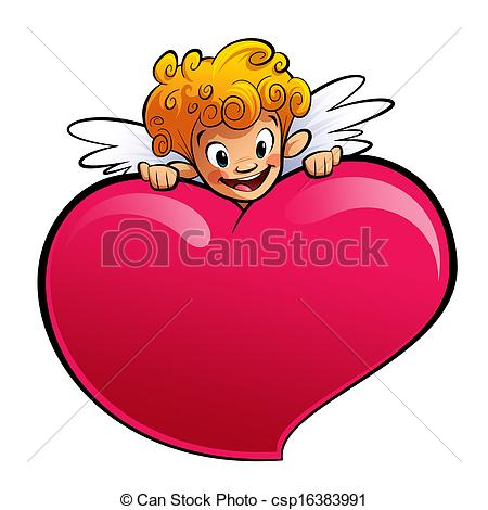 450x470 Cupid Behind A Huge Heart. A Blonde Happy Cupid, Smiling