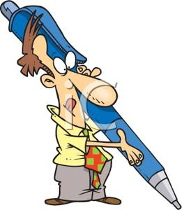 261x300 A Colorful Cartoon Of A Man Carrying A Huge Fountain Pen