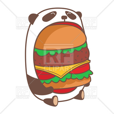 400x400 Hungry Kawaii Panda Eating Huge Burger Vector Image Vector