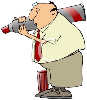 306x350 Cartoon Of A Businessman Holding A Huge Marking Pen