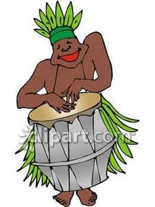 225x300 Black Man Hula Dancing While Playing The Drums