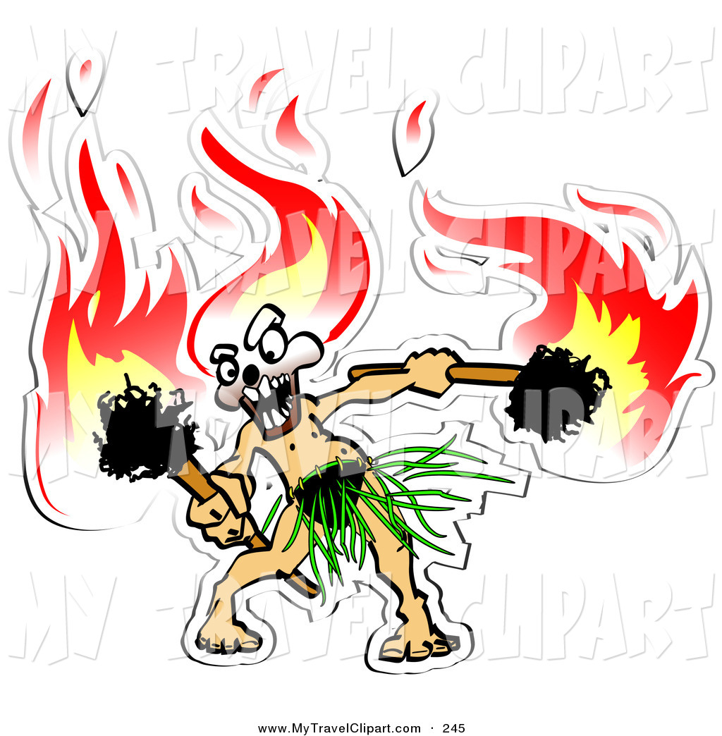 1024x1044 Clipart Of A Exotic Hula Dancer With Flaming Tiki Torches In Hand