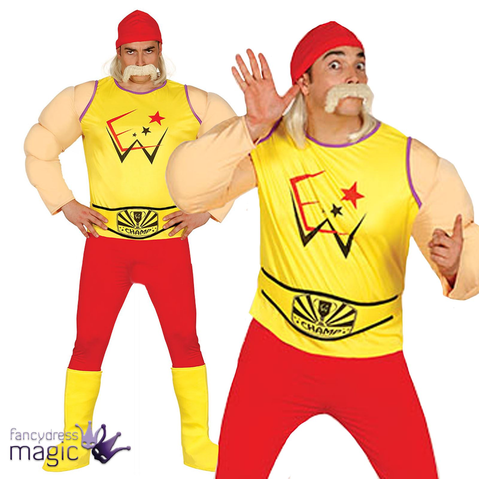1600x1600 Adults Mens Wrestler Wrestling Hulk Hogan 80s 1980s Fancy Dress