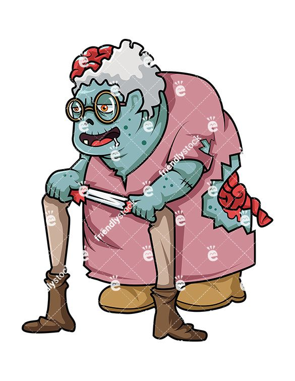585x755 Old Lady Zombie Vector Cartoon Clipart Human Leg, Zombie Clipart