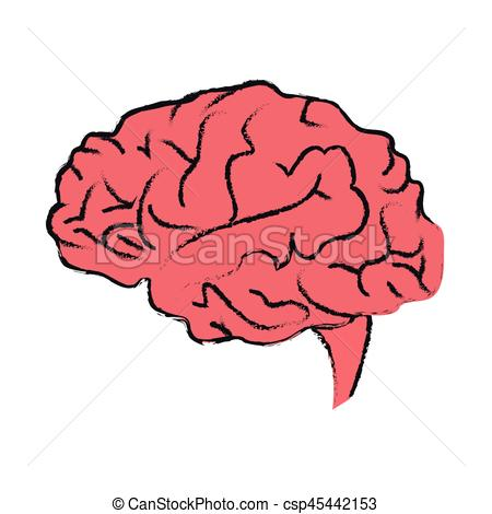 450x470 Human Brain Icon Over White Background. Vector Illustration