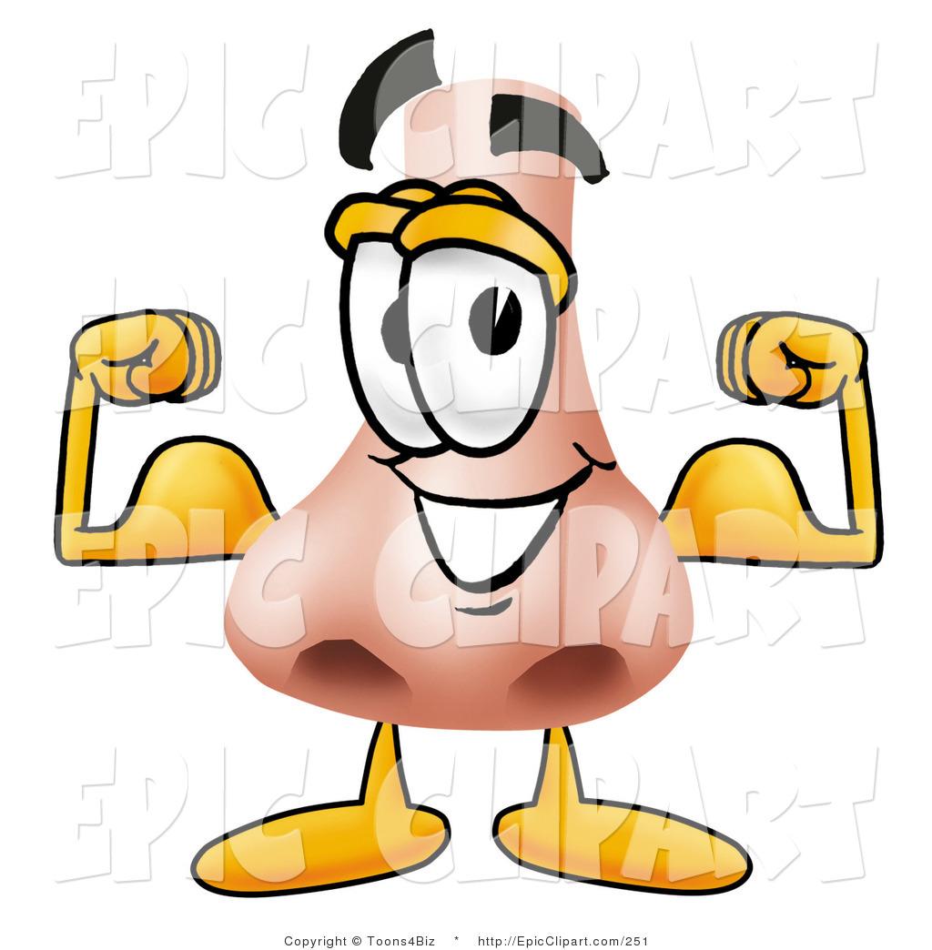 1024x1044 Clip Art Of A Human Nose Mascot Cartoon Character Flexing His Arm