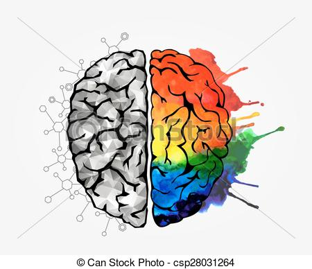 450x388 Creative Concept Of The Human Brain. Vector Illustration Clip Art