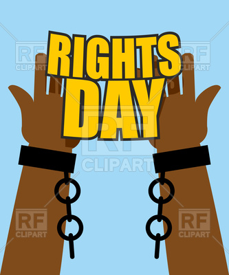 333x400 Human Rights Day. Hands Free From Chains. Royalty Free Vector Clip