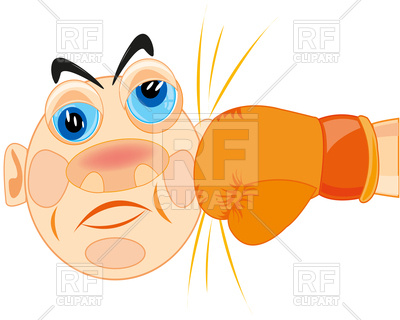 400x320 Human Head With Boxing Glove, Blow Royalty Free Vector Clip Art