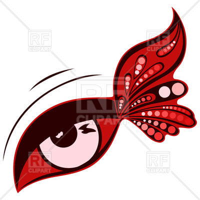400x400 Human Eye With Red Butterfly Wing Royalty Free Vector Clip Art