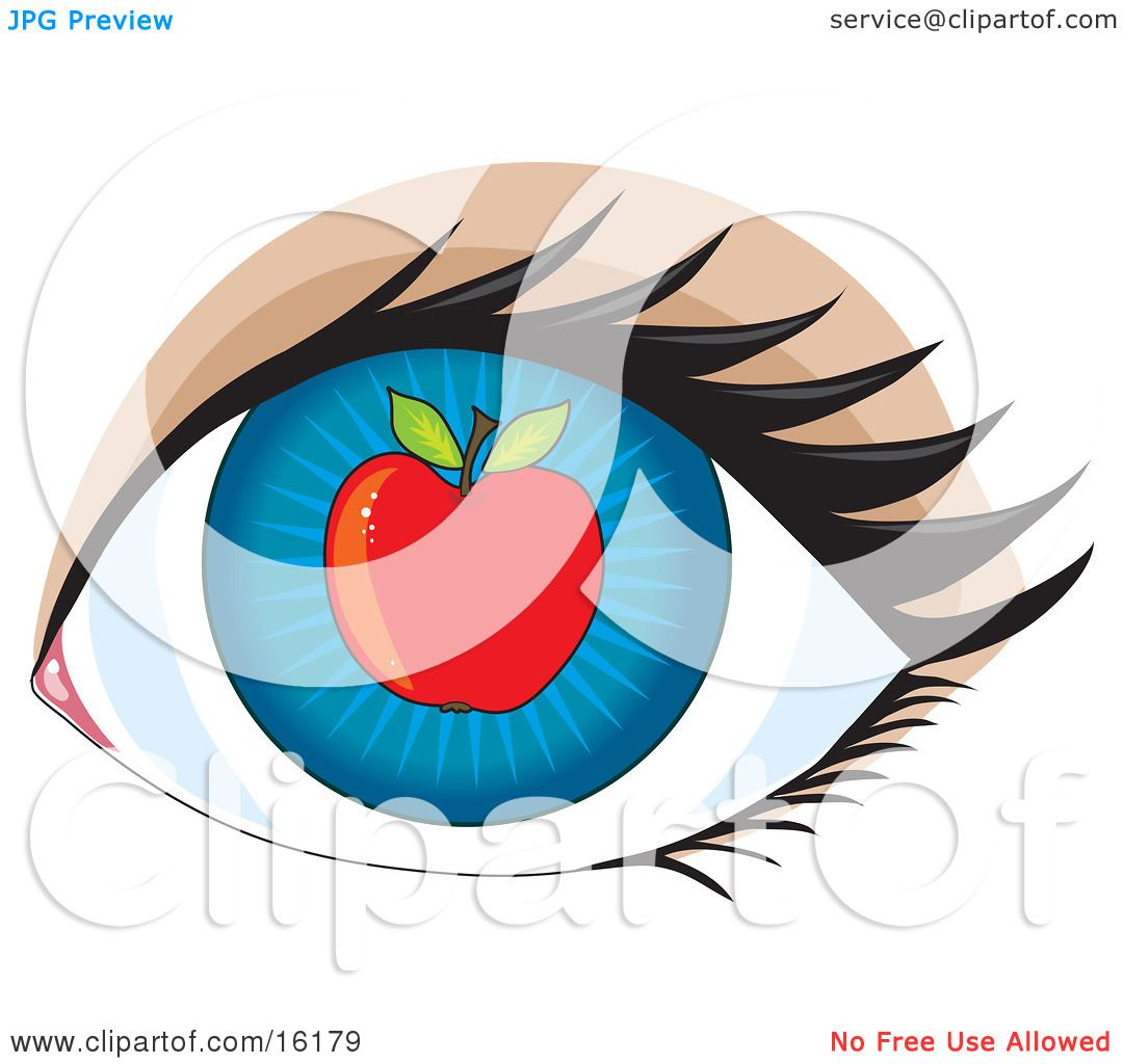 1080x1024 Blue Human Eye With An Apple, Concept For Apple Of My Eye Clipart