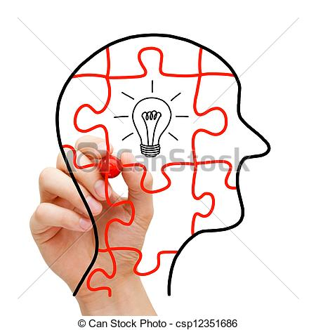 450x470 Creative Thinking Concept. Puzzle Human Head With Glowing Stock