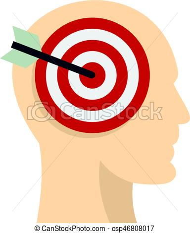 384x470 Target Goal In Human Head Icon Isolated. Target Goal In Vector