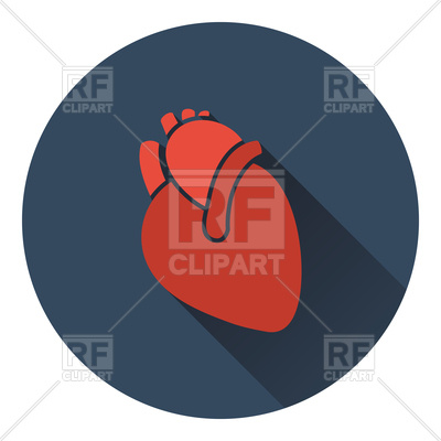 400x400 Flat Color Design Of Human Heart Icon Royalty Free Vector Clip Art