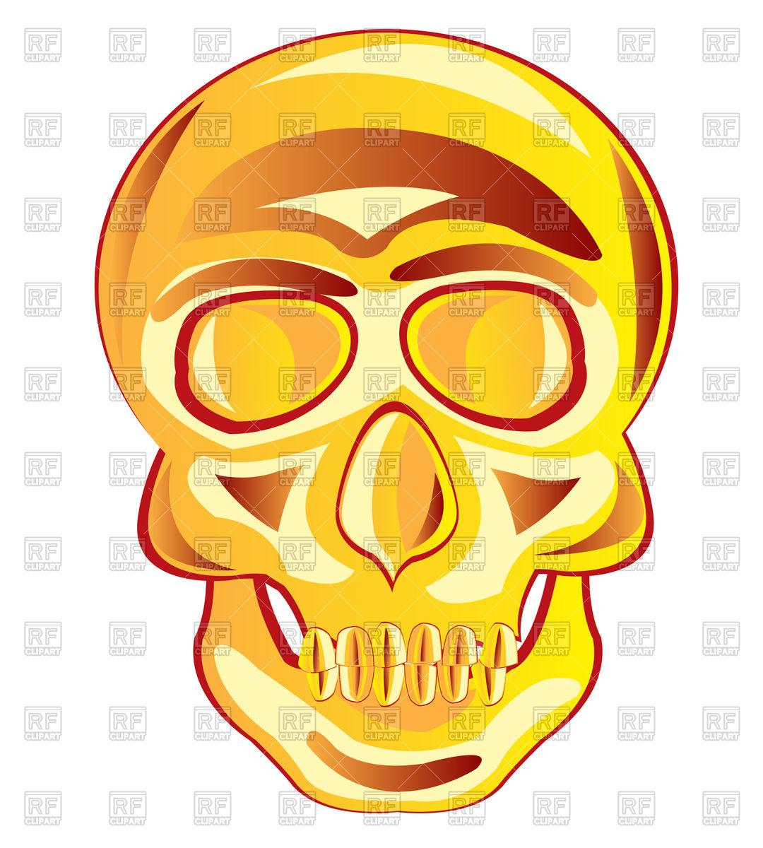1080x1200 Gold Skull Royalty Free Vector Clip Art Image
