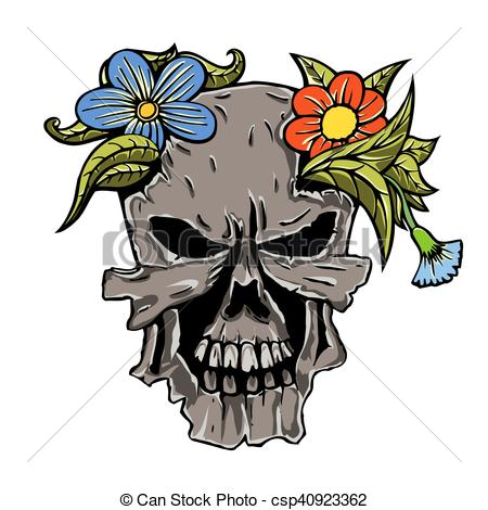 450x470 Human Skull And Flowers. Human Terrible Skull And Flowers . Clip