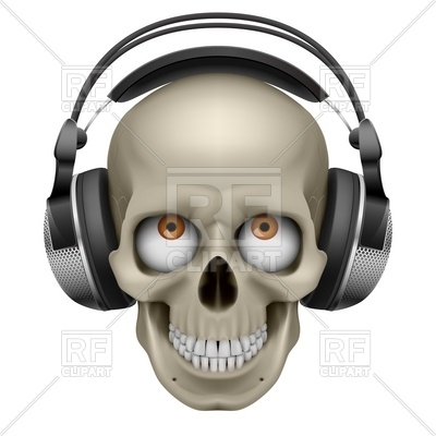 400x400 Human Skull With Eye And Music Headphones Royalty Free Vector Clip