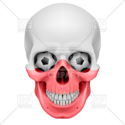 400x400 Human Skull With Soccer Balls For Eyes Royalty Free Vector Clip