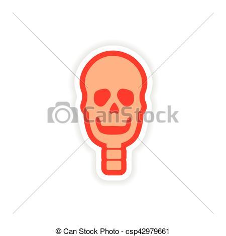 450x470 Paper Sticker On White Background Human Skull Clip Art Vector