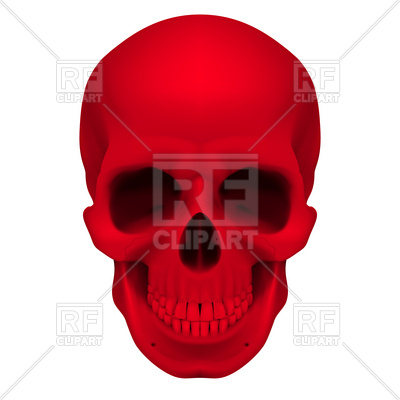 400x400 Realistic Red Human Skull Royalty Free Vector Clip Art Image