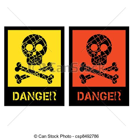 450x470 Signs Of Human Skull With Bones On Yellow And Red Clip Art Vector