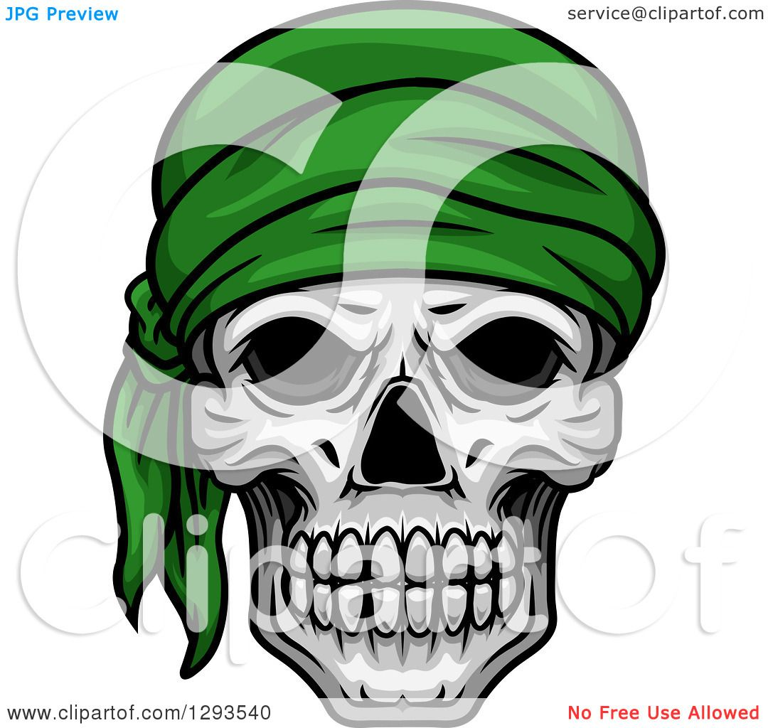 1080x1024 Clipart Of A Human Skull With A Green Bandana
