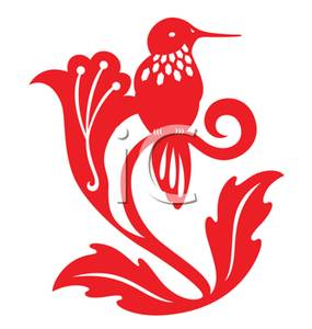 285x300 Clipart Picture A Red Silhouette Of A Hummingbird On A Flower Branch