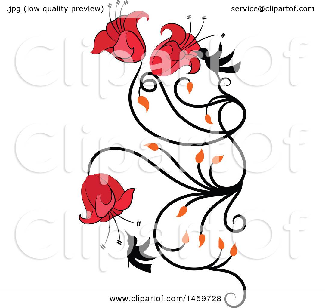 1080x1024 Clipart Of A Hummingbird And Red Flower Vine Design Element