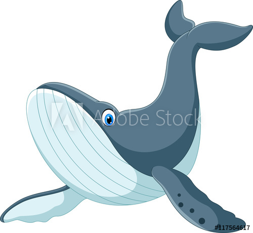 500x460 Happy Blue Whale Cartoon