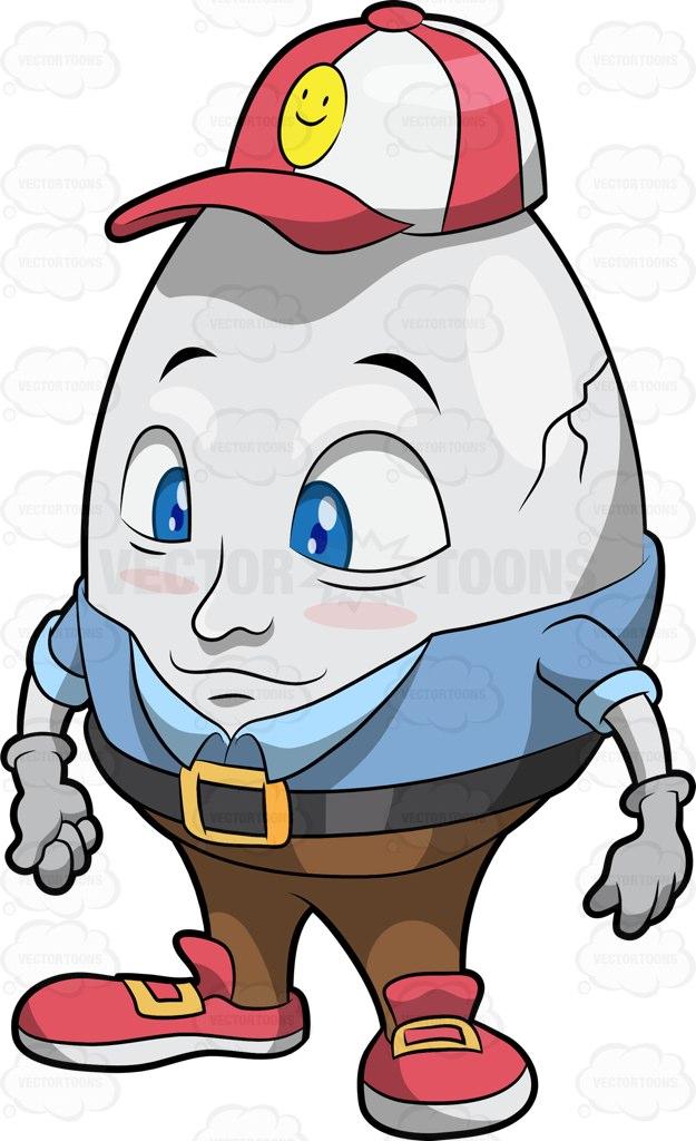 625x1024 Humpty Dumpty Wearing A Cap Cartoon Clipart Vector Toons