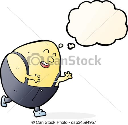450x437 Cartoon Humpty Dumpty Egg Character With Thought Bubble.