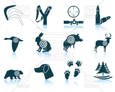 400x320 Set Of Hunting Icons Royalty Free Vector Clip Art Image