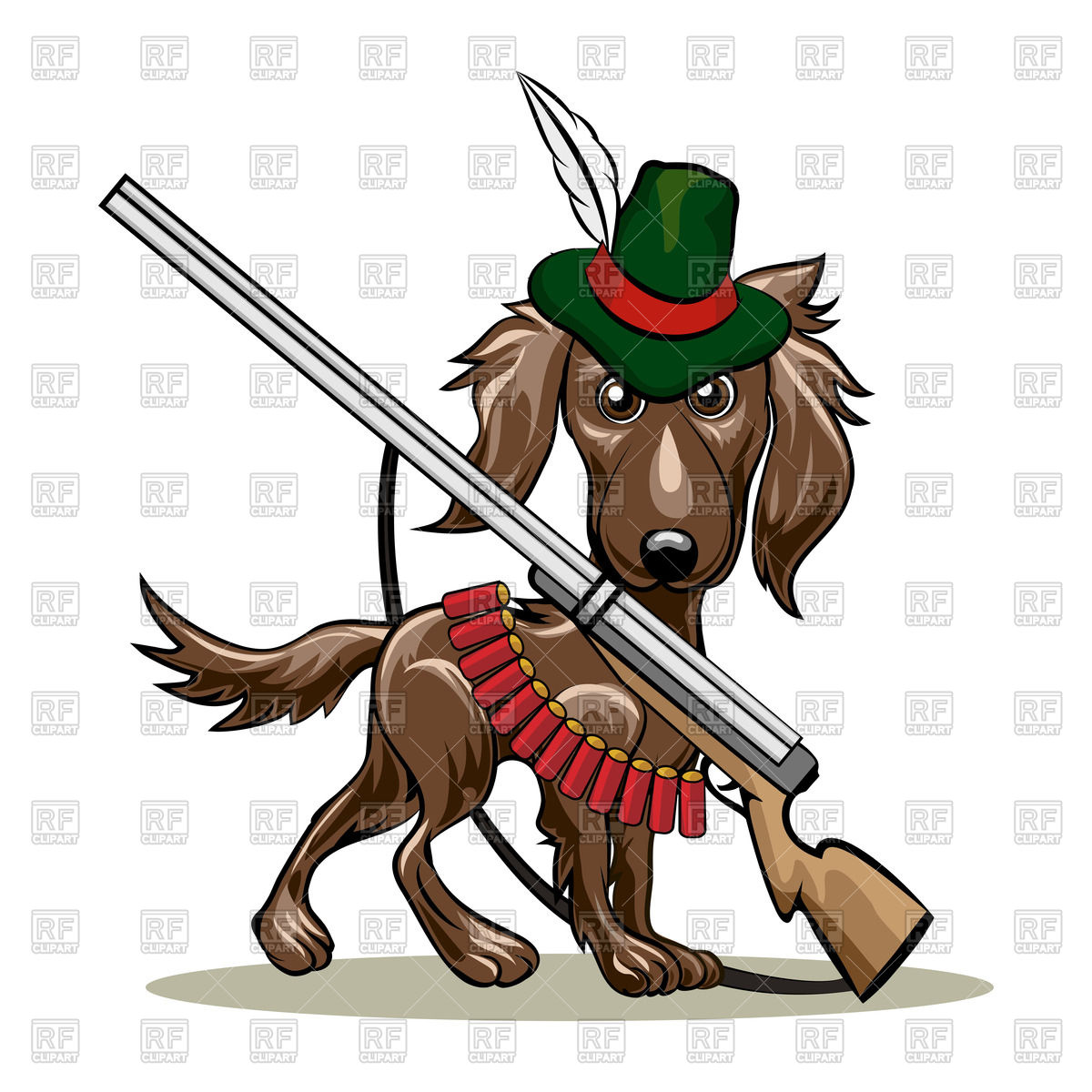 1200x1200 Dog In Hunter Hat And With Shotgun And Cartridges Royalty Free