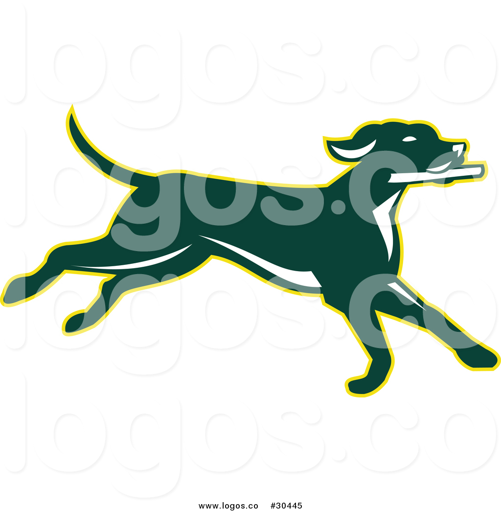1024x1044 Vector Logo Of A Green Pointer Dog Running With Stick By