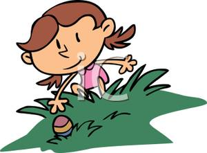 300x221 Clip Art Image A Little Girl Hunting For Easter Eggs