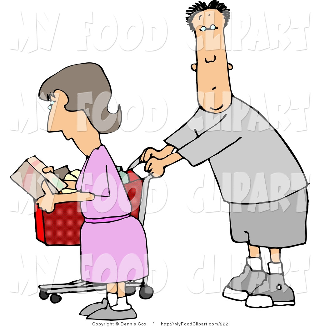 1024x1044 Food Clip Art Of A Husband And Wife Going Grocery Shopping By