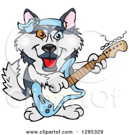 450x470 Clipart Of A Happy Husky Dog Standing And Waving